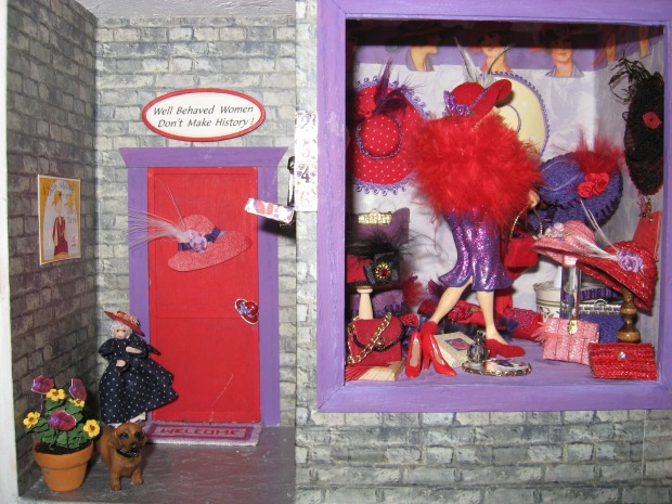Red Hat Purple Dress Window rm  Our Little Mini Club project  by MG