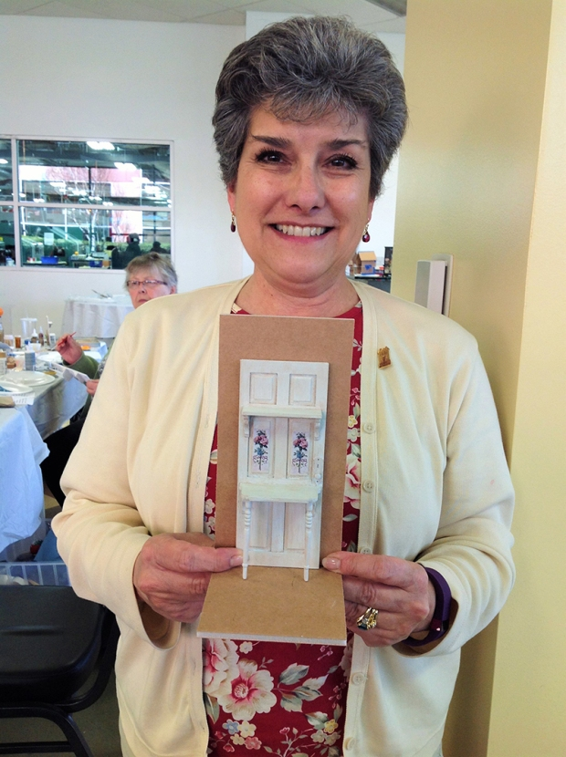 Karen Tomajan showing her shabby chic project.
