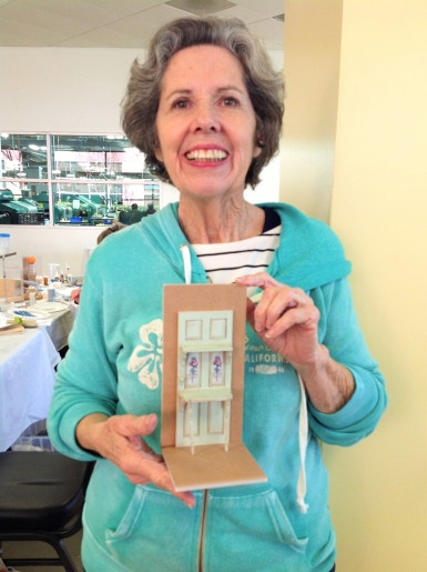 Suzanne Harrington-Cole displays her partially finished project.