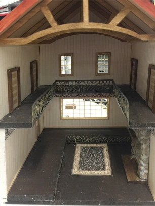 Interior of the 1/4 scale ski lodge workshop by the MiniCals.