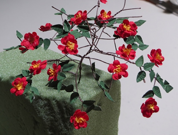 Camellias made by the Mini Attics club.