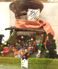 "NAME Member, Pat Perry displayed her ""Mad Hatter Tea Party"" scene in 1/4"" scale."