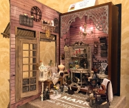 "NAME Member, Angelika Oeckl displayed her ""Angelique Antique,"" a 1"" scale antique shop."