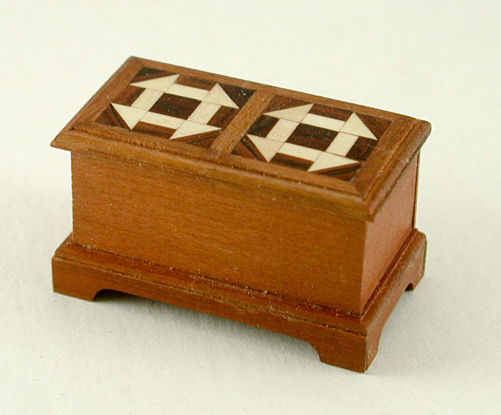 Good Sam workshop: Sewing Box with Monkey Wrench Quilt Pattern on Lid by Pam and Pete Boorum