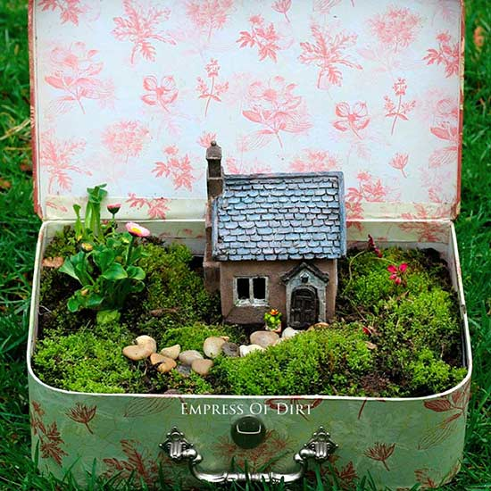 Suitcase Fairy Garden by empressofdirt.