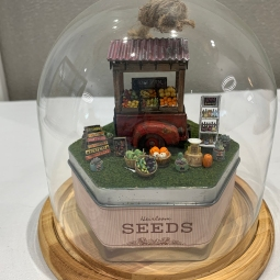"""Farm Stand"" by Laura Johnson. This was created in a workshop at the NAME Sacramento houseparty. Laura is a member of the Mini Attics."