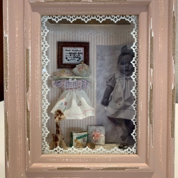 """Our First Grandchild"" by Ruth Heisch. This was a MiniCals workshop that Ruth remade for her granddaughter-in-law's birthday."