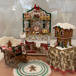 """Gingerbread Visions"" by Carol Walls. The sideboard is from a class with Carlene Brown. The gingerbread dollhouse is from the 2012 NAME houseparty in Portland. Carol is a member of the Mini Attics."